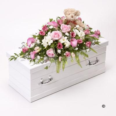 Children's Casket Spray with Teddy Bear   Pink